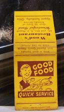 Vintage Matchbook Cover P1 Upper Sandusky Ohio Good Food Wood's Restaurant Quick
