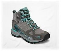 THE NORTH FACE WOMEN'S SIZE 8.5 ULTRA GTX SURROUND MID HIKING BOOTS GREY / GREEN
