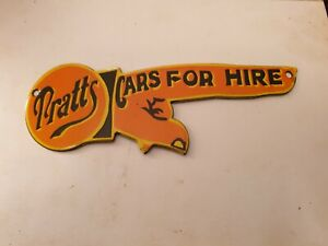 """Pratts """"Cars for Hire """" Enamel sign garage/ Man Cave 10"""" x 3"""""""