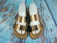 Think! Multi-Color Leather Slide Sandals Shoes Women's Size: 41 / 10