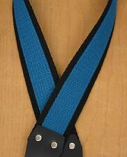 LAKE PLACID BLUE Black Super Solid Cotton A &  F-style TROPHY USA Mandolin Strap