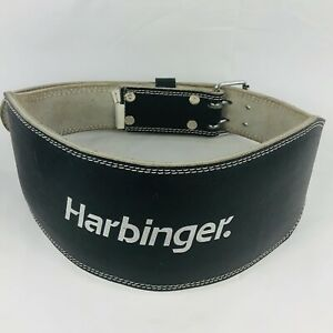 "HARBINGER 6"" Weight Lifting Belt Leather Padded Back Support Black Size L"
