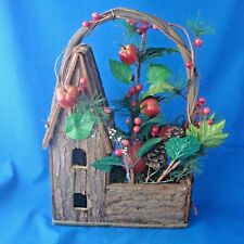 bird house flower basket bark wood with faux apples berries pine branches