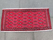 Tradicional Old alfombras hechas a mano de lana persa 48x107cm Alfombra Oriental turcomano Rojo