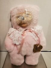 ROBERT RAIKES Pink CAMEO Wood Wooden Face 1994 Applause Teddy BEAR Lace