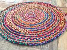 Handmade Braided Cotton Decorative Multi Color Jute Area Rugs Round 3 X 3 Fit