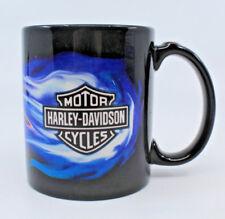 Harley Davidson Motor Cycles HD Blue Frames Black Logo Coffee Tea Mug Cup AS-IS