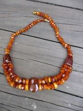 Art Deco finely facetted genuine old mined  Amber , partly double necklace  琥珀色