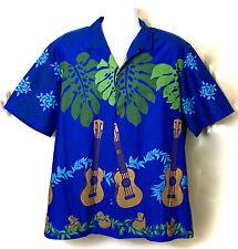 Vintage Royal Creations Blue Hawaiian Surf Beach Ukelele Camp Shirt XL Palm