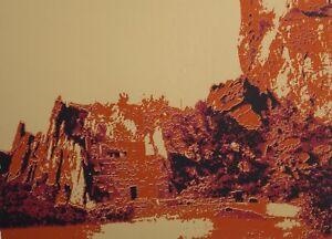 "Don Young ""Cliff Dwellers II"" Signed Fine Art Serigraph Vintage PopArt landscape"