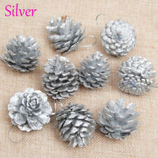 9pc Christmas Silver/gold Pine Cones Bauble Xmas Tree Decorations Ornament Decor Silver