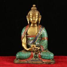 Chinese Rare Tibet copper handmade Gem inlay Amitayus Buddha statue