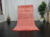 """Moroccan Vintage Handmade Rug 3'3""""x6'1"""" Solid Faded Red Berber Tribal Wool Rug"""