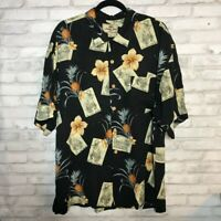 Jamaica Jaxx Mens Hawaiian Shirt Multicolor Black Floral Short Sleeve Silk XL