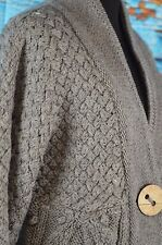 Saks Fifth Avenue Cardigan Women's Size Large Wool Chunky New $250 Gray Knit