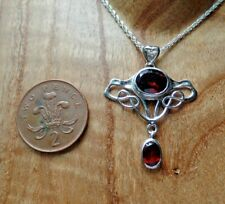 Art Nouveau Style Sterling Silver Garnet Necklace January Birthstone Aquarius