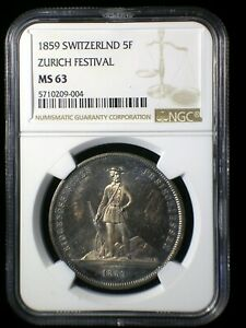 Switzerland 1859 Zurich Shooting Thaler *NGC MS-63* 5 Francs Rare Color Toned