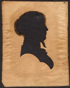 Antique NEW ENGLAND SILHOUETTE of WOMAN, c. 1800-30s