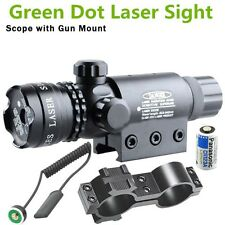 High Power Tactical Green Laser Sight Rifle Dot Scope w/ Rail and Barrel Mounts