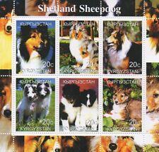 SHETLAND SHEEPDOG CANINE ANIMAL AND PUPPIES KYRGYZSTAN 2000 MNH STAMP SHEETLET