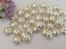 Vintage Cream Rose Half drilled Round Acrylic Faux Pearl Pk 12 CRAFT Post Free