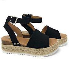 Women Summer Sandals Platform Open Toe Espadrilles Wedge Heels Ankle Strap Shoes
