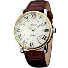 WINNER Luxury Men Dress Automatic Mechanical Calendar Brown Leather Wrist Watch