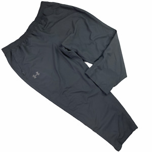 Under Armour Men 3XLTrack Pants Black Solid Heatgear Ankle Zip Polyester Lined