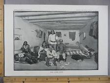 Rare Antique Original VTG Zuni Living Room Illustration Art Print