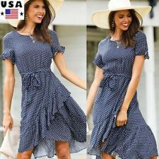 Womens Short Sleeve Polka Dot Midi Dress Ladies Ruffle Casual Loose Summer Dress