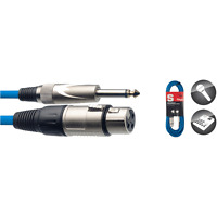 1 Câble XLR 3 Broches vers Jack 6,35 Mono Câble BLEU Long 6 Métres SMC6XP