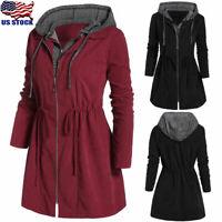 Plus Size Women's Zip Hooded Coat Jacket Casual Long Sleeve Trench Parka Outwear