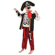 Kids Pirate Skeleton Fancy Dress Up Costume Age 6 - 9 Years Pirate Party P7261