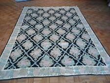 9 X 12 Black Wool Area Rug Handmade Aubusson Chain Stitch G1243