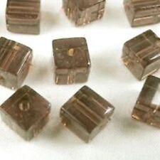 50 Pièces 6mm verre cristal carré / Cube Perles-Gris-a3054