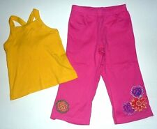 110 4 5 6 HANNA ANDERSSON GIRLS YELLOW TANK TOP PINK EMBROIDERED CAPRI PANTS EC+