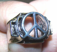 2 PEACE SIGN BIKER RINGS BR217 chopper motorcycle ring