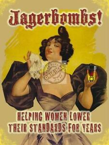 """JAGERBOMBS ! HUMOUR COMEDY, """"LOW STANDARDS""""! VINTAGE,LARGE STEEL WALL PLAQUE TIN"""