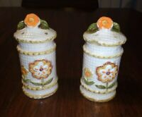 Vintage Ceramic Salt And Pepper Shakers Orange, Yellow, Brown Flowers On White