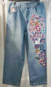 Vtg NLBM Negro Leagues Baseball Headgear Team Logos Blue Denim Jeans sz 38x33