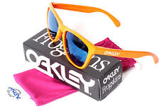 Oakley FingerPrint Orange Frogskins w/ Custom Cobalt Navy Blue Polarized Lenses