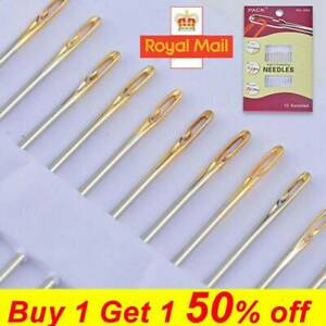 12PCS Thick Big Eye Sewing Self-Threading Needles Embroidery Hand Sewing NEW