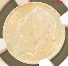 1872 H Straits Settlements Victoria 10 Cent Silver Coin NGC UNC Details