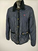 WOMENS JACK WILLS NAVY BLUE COLLARED QUILTED BUTTON JACKET COAT UK 10