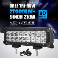 "Tri-Row 9""Inch 270W Bumper Light Grill Lamp LED Work Light Bar Offroad VAN WAGON"