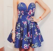 TFNC (ASOS) Blue Floral, Strapless Mini Cocktail Prom Dress - Size S (Fits an 8)