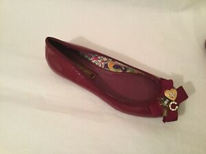 COACH Poppy CAPER Ballet Flats Purple Loafer Bow/Metal Charms Size: 7 B