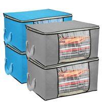 2*Foldable Clothes Large storage Bag Fabric Quilt Blanket Organizer Zipper Box