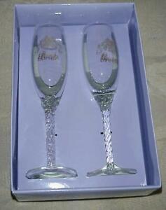 Bride & Groom Champagne Toasting Crystal Glasses Bells Wedding Bridal Supplies