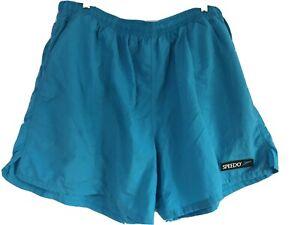 Speedo mens nylon mesh lined blue drawstring elastic waist swim bottoms sz 2XLT